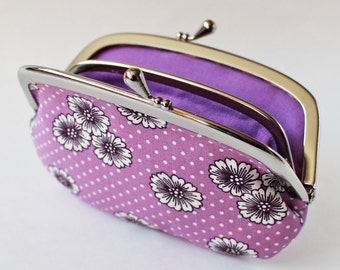 Coin purse / wallet - flowers on purple lavender white kiss lock coin purse change purse floral purple flower divider compartments