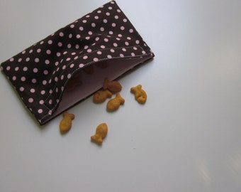 SNACK BAG Brown and Pink Polka Dots one Small Waterproof Washable Reusable Snack Bags