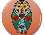"Sugar Skull Barn Owl 2.25"" Pinback Pin Button Badge"