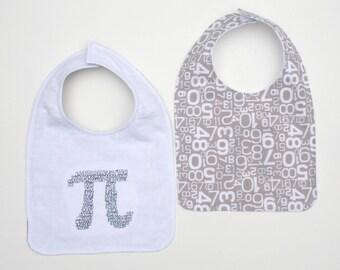 Pi Math Symbol Baby Bib - Math Baby Bib - Nerd Baby Bib - Math Baby Gift - Pi Baby Bib -Math Geek Baby Gift - Pi -Numbers Bib -White & Gray
