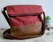 Waxed Canvas and Leather Foldover Crossbody Bag / Handmade Leather and Canvas Purse / Foldover Bag with Strap