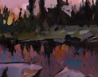 Original Landscape Lake Dusk Pond Trees Forest Mountains - 5x7 by David Lloyd