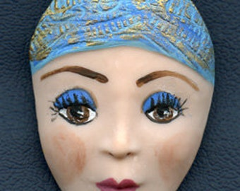 "Polymer Clay  Detailed  2 1/8 "" Art Doll Face Cab with Brown Eyes DNWF 1"