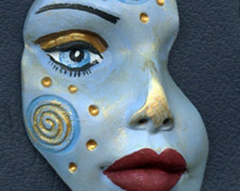 Polymer Clay One of a kind textured Abstract Face Shard  SHD 2B