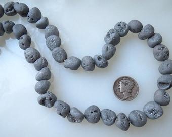 Silver Metallic Titanium Druzy Crystal Agate Freeform Nugget Beads Avg Size 10-15mm Half Strand