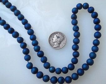 Metallic Blue Titanium Druzy Crystal Agate 6mm Round Beads Half Strand