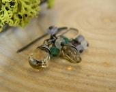 petite citrine earrings - oxidized silver