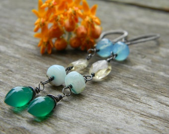 long dangle earrings - green and blue chlacedony, peruvian opal and citrine - oxidized silver