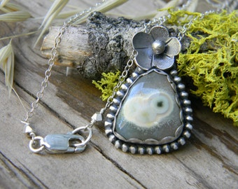 Ocean Jasper Garden Pendant Necklace - sterling silver - oxidized and rustic