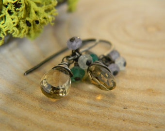 petite citrine earrings - oxidized silver
