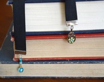 ribbon bookmark with upcycled jewelry