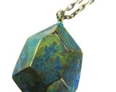 Metal Minerals Brass Blue Patina Emerald Cut Necklace