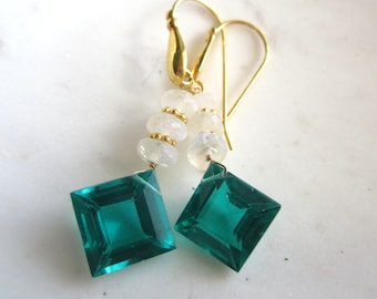 Emerald Green Crystal and Moonstone Earrings, Dangle Earrings, Gemstone Earrings, Under 50,For Her,
