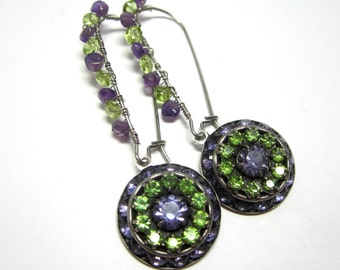 Rhinestone Earrings with Genuine Peridot and Amethyst. Amethyst and Peridot Gemstone Earrings.