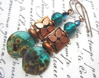 Dark Teal Lampwork Leaf and Copper Earrings.  Teal Lampwork and Copper Earrings.