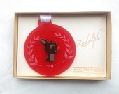 Rudolph Reindeer Ornament - Laser cut holiday ornament - Holiday hanging ornament - Red Christmas Ornament