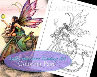 Kit and Clowder RESERVED listing - Dragon's Orbs Fairy Dragon - Printable - Adult Coloring Page - Molly Harrison Fantasy Art