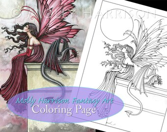 Restless Ruby Fairy Dragon - Digital Stamp - Printable - Adult Coloring - Molly Harrison Fantasy Art - Digistamp Coloring Page - 8.5 x 11