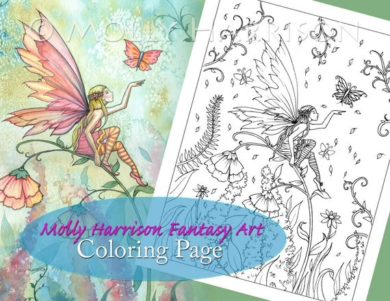 Butterfly Flower Fairy - Digital Stamp - Printable - Flower Fairy Art - Molly Harrison Fantasy Art - Digistamp Coloring Page - Digi Stamp