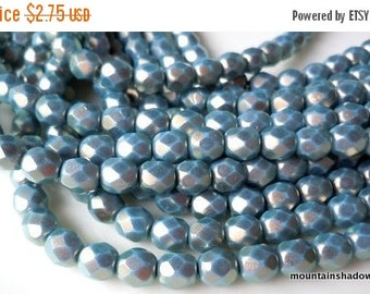 25% OFF Summer Sale Czech Glass Bead 6mm Faceted Round Bead - Halo Ethereal - Shadows - 25