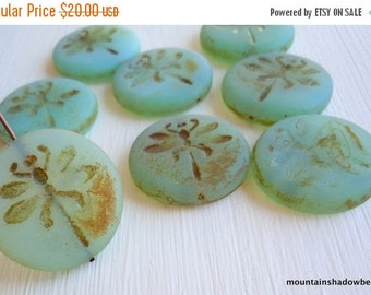 50% OFF SALE Clearance Pack - 8 Dragonfly Bead - 23mm Czech Glass Beads - Frosted Aqua Picasso