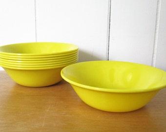 8 vintage yellow melmac bowls Texas Ware