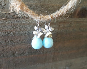 Blue Opal and Flower Earrings, Bridal Jewelry, Silver Orchid Earrings