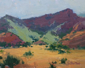 Canyon Colors - 9 x 12 Inch Original Oil Painting of Red Bluffs - Blackstar Canyon Oil Painting - Desert Oil Painting - Western Decor