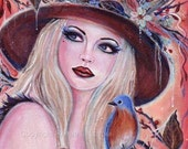 Desdemona woodland witch with owl print  by Renee L. Lavoie