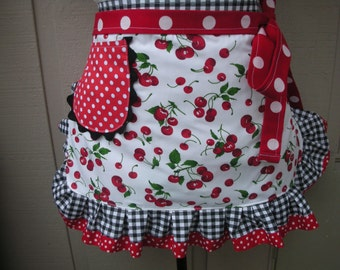 Aprons - Womens Waist Aprons - Sweet Cherry Aprons - Handmade Aprons - Cherry Fabric Aprons - Annies Attic Aprons -  Hostess Apron Gifts