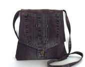 Custom order for  Donna , Recycled  blue jean messenger bag