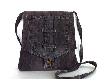 Small crossbody bag Recycled gray jean messenger bag Travel purse Side bag Denim sling purse Upcycled shoulder purse Cross body bag