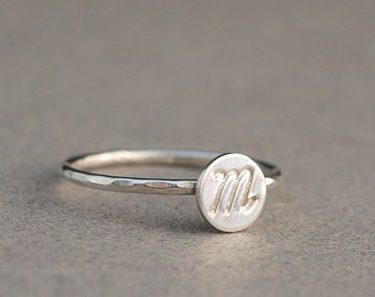 Initial Ring , Sterling Silver Ring , Cursive Font , Personalized Gift