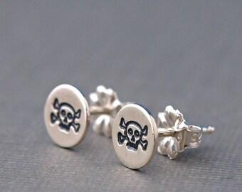 Skull Earrings , Skull Jewelry , Sterling Silver Stud Earrings