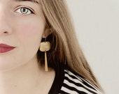 Long Golden Square and Bar Earrings