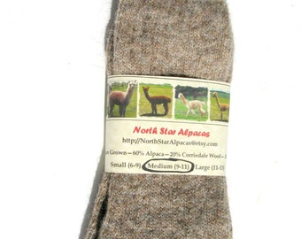 Womens Socks - Alpaca Wool Socks Grown in Michigan - Medium Size - Great Gift