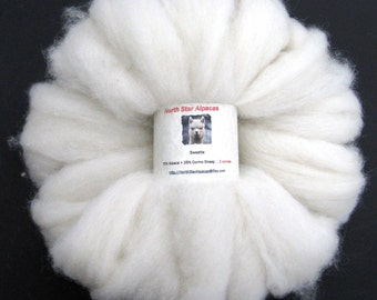 White Alpaca and Cormo Wool Roving for Spinning, Dyeing and Felting - 2 ounces