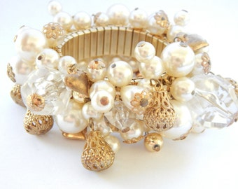 Vintage ChaCha Expansion Bracelet Pearl Gold Crystal Charm Beads