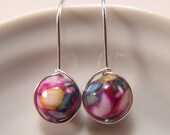 Iridescent Mother of Pearl Bead dangle earrings Sterling Silver