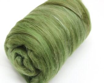 Carded Batt Merino & Silk Olive Tree Fine Merino Wool XL Spinning and Felting Fibre  100g