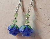 Blue Flower Glass Earrings with Swarovski Peridot Accents on Silver