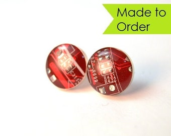 Circuit Board Stud Earrings MADE TO ORDER Sterling Silver