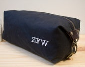Gift for men, Personalized Dopp Kit, Toiletry Bag, Travel Bag For Men with Inside Pocket - Water Resistant Lining-Waxed  Canvas-Black