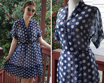 POLKA Dot 1940's Vintage Navy Blue + White Sheer Chiffon Dress with Rhinestone Buttons // size Medium Large