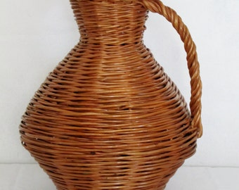 Basket Jug Shape Wicker Basket, Vase
