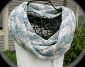 Women's hand knit chunky cowl, bulky cowl scarf, long cowl, infinity scarf, chunky circle scarf in blue and gray chevron stripe Debby Bliss