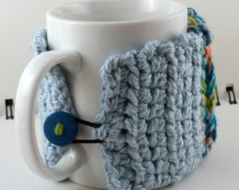 Crocheted Coffee or Ice Cream Cozy with Pocket in Blues, Orange, and Green Cotton-Silk Blend with Blue Button (SWG-E02)
