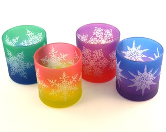Snowflake Mandala Lowball Tumbler Glasses - Painted and Frosted Glassware - 4 Glass Set - Ready to Ship