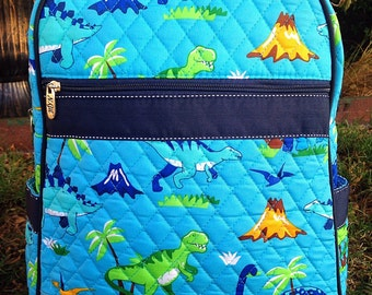 Dinosaur Quilted Backpack - Dinosaurs Diaper Bag - Personalized with Name or Initials - Back to School