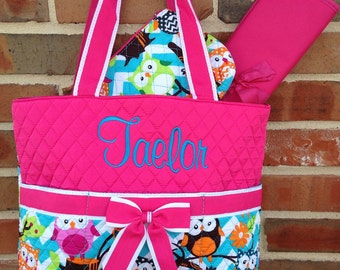 Owl Diaper Bag 3 Piece Diaper Bag Set Includes Name or Monogrammed Initials